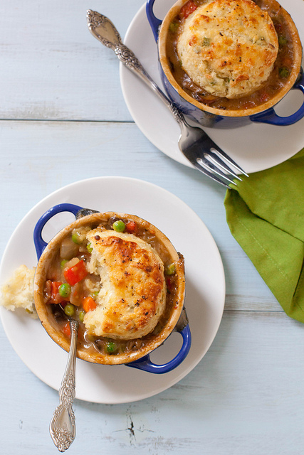 Vegetarian Pot Pies with Feta Scallion Biscuits