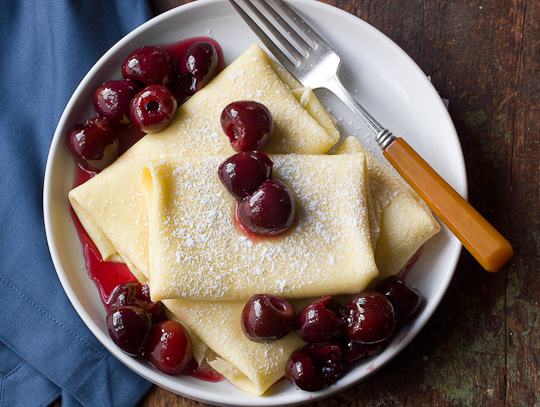 Baked Ricotta Blintzes with Fresh Cherry Sauce