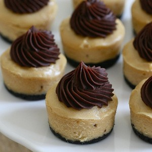 Mini Peanut Butter Chocolate Cheesecakes