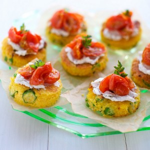 Okra Cornmeal Cakes with Chevre and Roasted Tomatoes