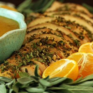 Herb-Orange Turkey with Pear Gravy
