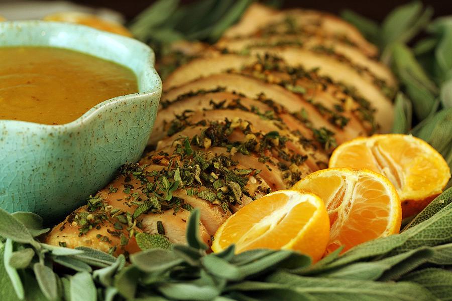 Herb-Orange Turkey with Pear Gravy