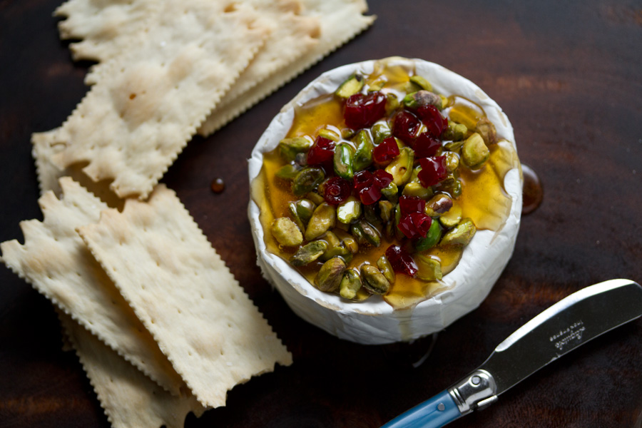 Honey-Baked Cheese with Pistachios and Cranberries