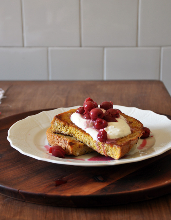 Whole Grain and Poppy French Toast with Stewed Sour Cherries
