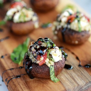 Caprese Quinoa Grilled Stuffed Mushrooms w/ Balsamic Glaze