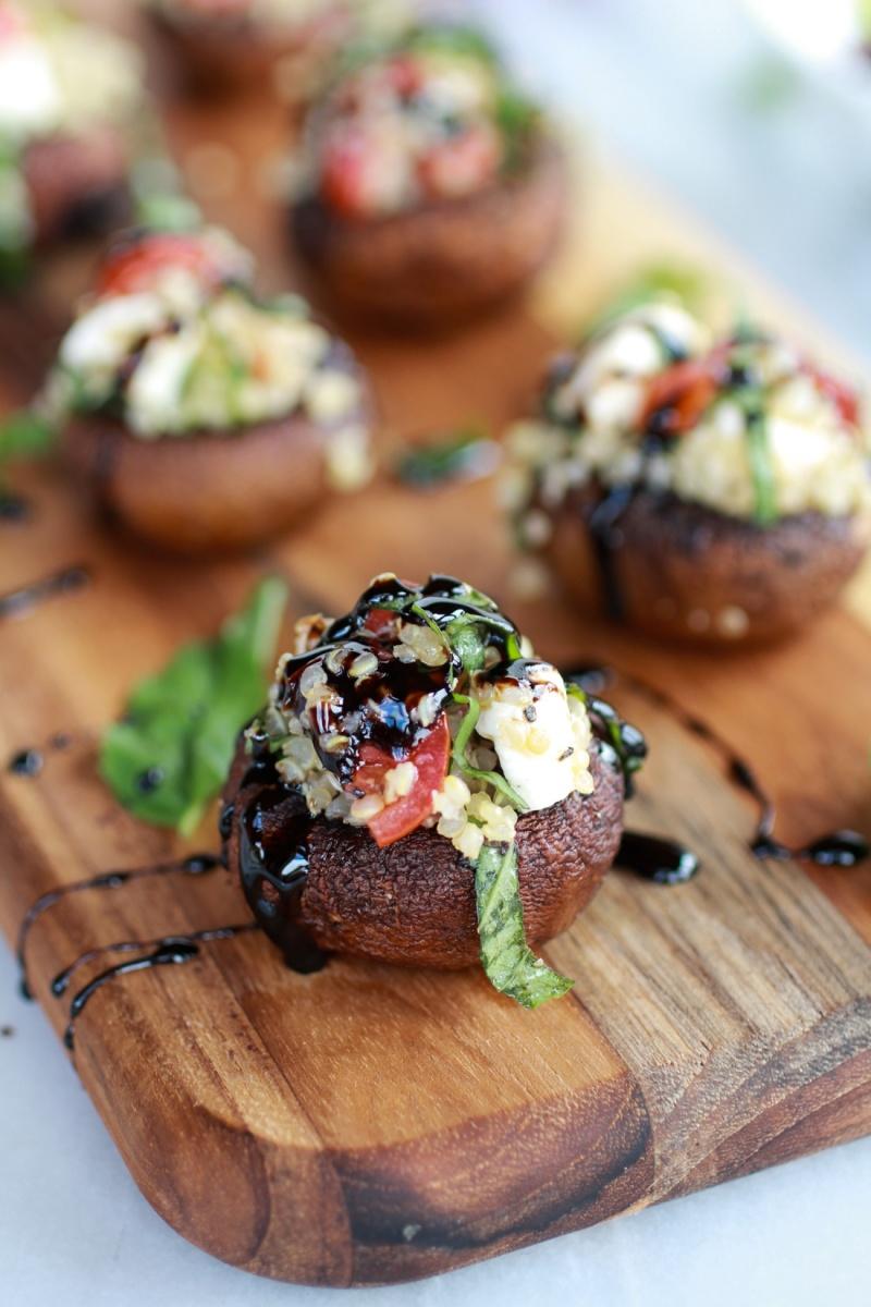Caprese Quinoa Grilled Stuffed Mushrooms w/ Balsamic Glaze