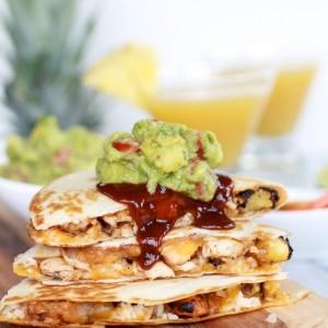 Hawaiian BBQ Quesadillas w/ Pinaeapple-Mango Guacamole<br>