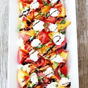 Tomato, Peach and Burrata Salad