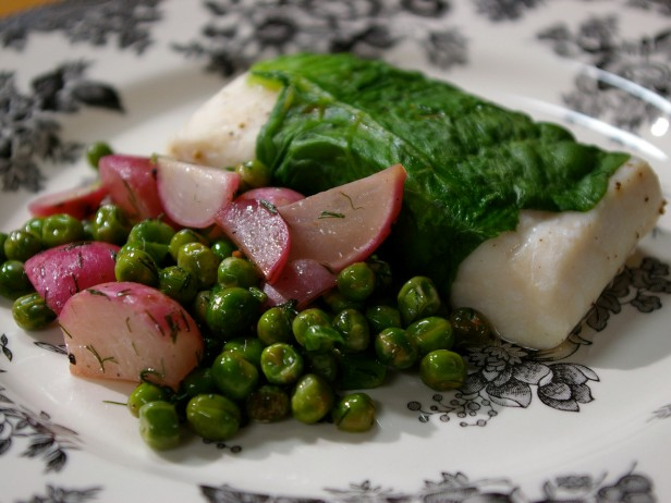 Lettuce-Wrapped Halibut with Dill Cream Sauce and Radishes and Peas