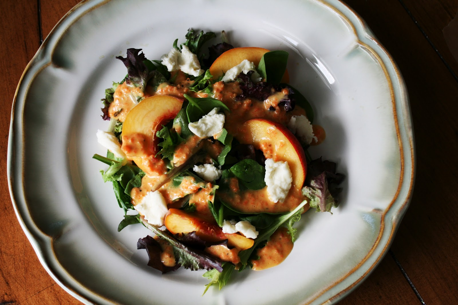 Peach Salad with Ginger Dressing