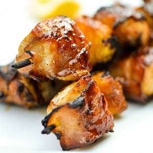 Bacon-Wrapped Chicken Skewers w/ Pineapple and Teriyaki Sauce<br>