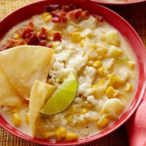 Corn Chowder with Chili Powder and Crumbled Cotija Cheese