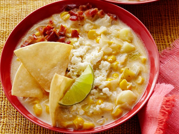 Corn Chowder with Chili Powder and Crumbled Cotija Cheese
