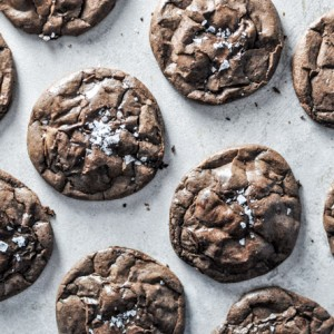 Salted Dark Chocolate Truffle Cookies
