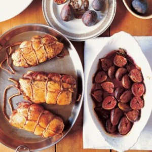 Double Duck Breasts with<br> Baked Figs