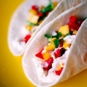 Fish Tacos with Mango <br> Salsa and Cilantro Lime
