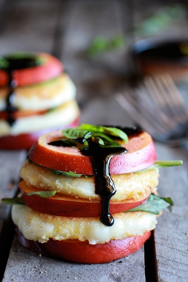 Fried Mozzarella, Basil & Nectarine Stacks w/ Balsamic Glaze<br>