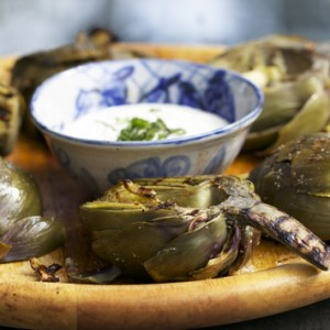 Grilled Artichokes<br> with Lemon Aioli<br>