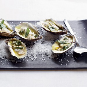 Grilled Oysters with<br> Spiced Tequila Butter