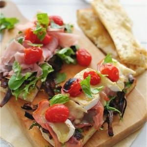 Toasted Ciabatta Sandwiches w/ Carmalized Onions, Arugula, Proscuitto & Brie