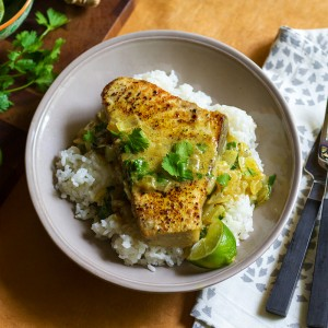 Seared <br>Coconut-Vindaloo Swordfish