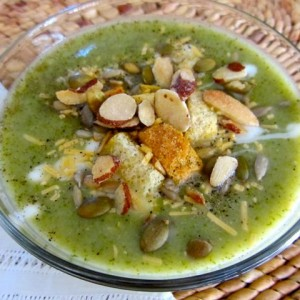 Skinny Cream of Broccoli Soup <br>with Cheddar and Croutons
