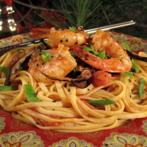 Spicy Szechuan Shrimp Linguine