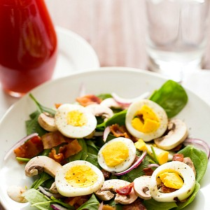 Warm Spinach Salad with Bacon, Mushrooms and Hard-Boiled Eggs