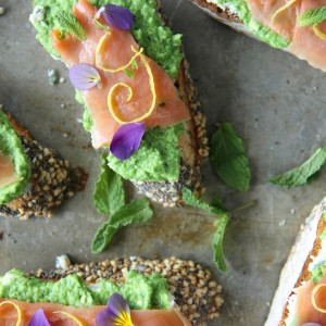 Smoked Salmon, Pea and Goat Cheese Crostini