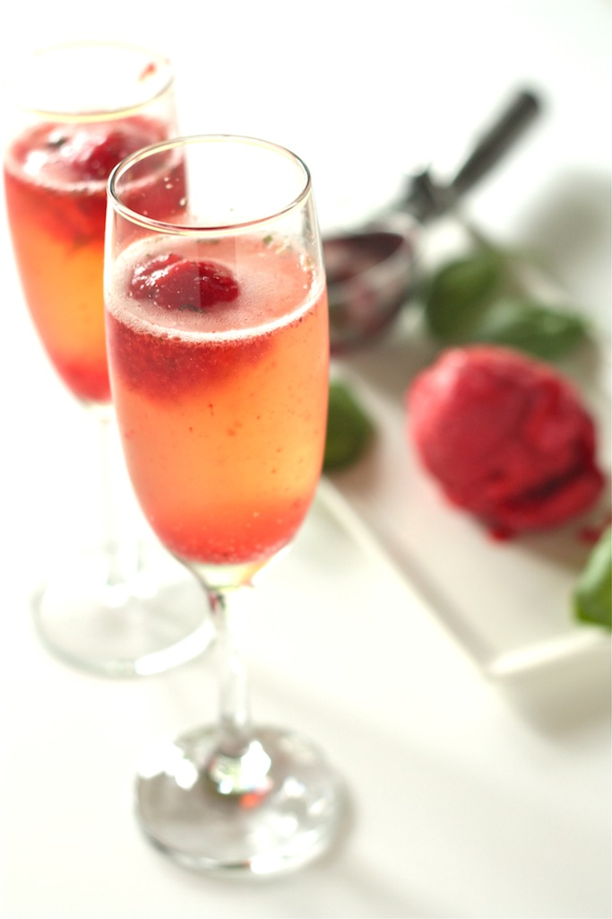 Strawberry Basil Sorbet Bellini