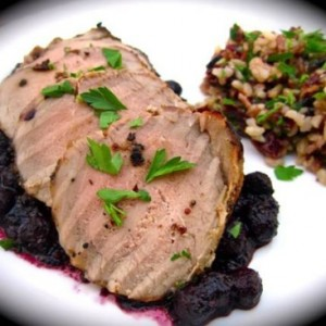 Mustard-Crusted Pork Tenderloin with Balsamic Blueberry Reduction