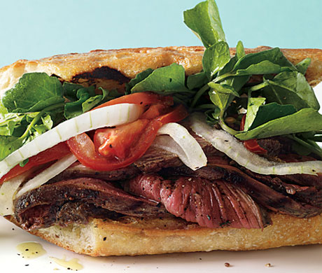 Grilled Steak Sandwiches with Marinated Watercress, Onion and Tomato Salad