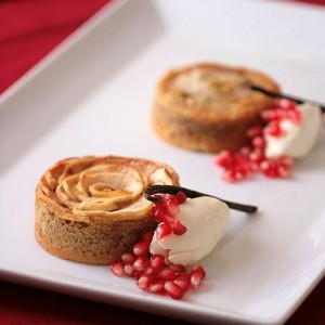 Apple Frangipane Tartelettes with Cheesecake Ice Cream