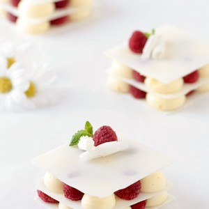 White Chocolate, Vanilla Bean Cardamom Mousse and Raspberry Layers