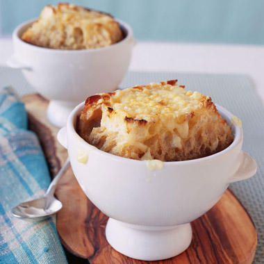 Onion Soup with Loads of Thyme and Giant Gruyere Crostini