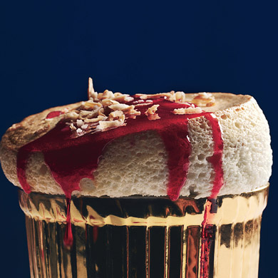 Toasted-Coconut Souffles with Ruby-Red Cranberry Sauce