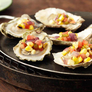 Grilled East Coast Oysters with Corn Jalapeno Salsita