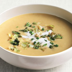 Potato, Green Cabbage and Leek Soup with Lemon Crème Fraiche