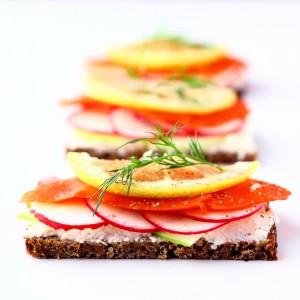 Salmon, Radish and Apple Open-Faced Sandwich