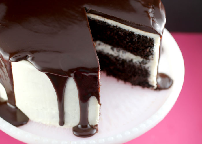 Chocolate Cake with Vanilla Frosting and Ganache