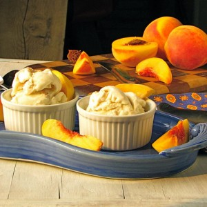 Roasted Peaches and Honey Ice Cream