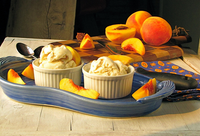 Roasted Peaches and Honey Ice Cream