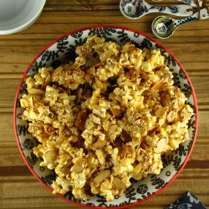 Toasted Sesame and Almond Caramel Popcorn