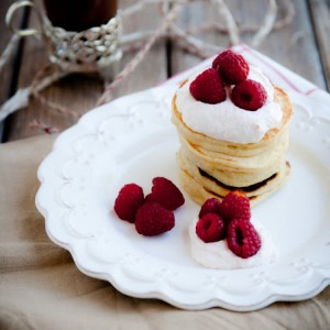 Cardamom Pancakes with Rhubarb Cream and Raspberries