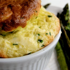 Green Garlic, Chive and Cheese Souffles with Roasted Asparagus