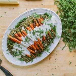 Grilled Carrots over Lentils with Horseradish Yogurt Sauce