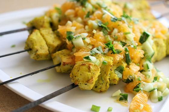 Marinated Chicken Skewers with Clementine Salsa