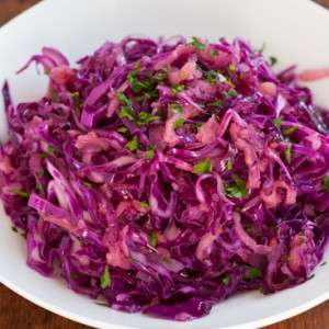 Warm Apple Cabbage Slaw with Apple and Caraway Seed