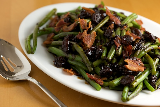 Green Beans with Bacon and Tart Cherry Balsamic Glaze