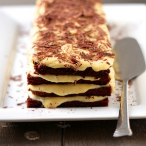 Layered Dark Chocolate and Egg Nog Mousse Cake